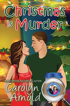 Christmas is Murder by Carolyn Arnold a cartoon couple in front of a Christmas tree