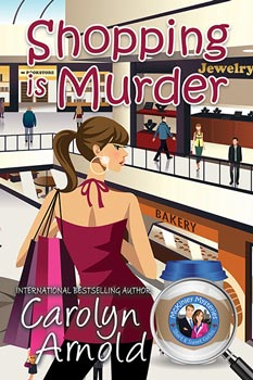 Shopping is Murder by Carolyn Arnold a cartoon woman in a mall