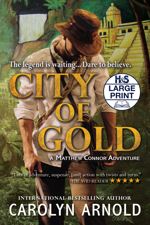City of Gold Large Print Edition by Carolyn Arnold panting of the legendary city of gold with waterfalls and greenery